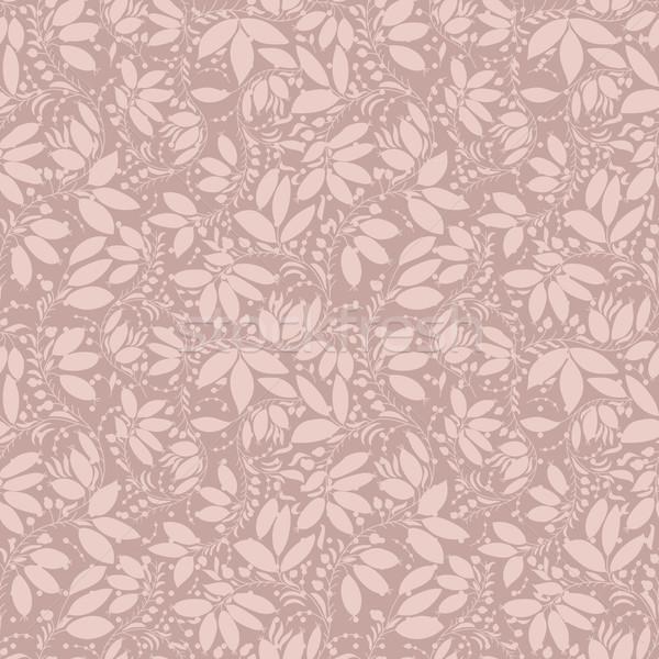 Neutro bege planta papel de parede floral ornamento Foto stock © LittleCuckoo