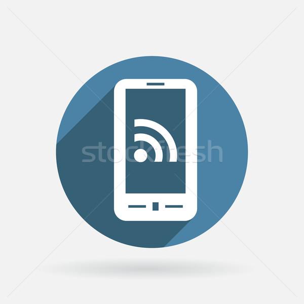 Smartphone symbol rss kółko niebieski ikona Zdjęcia stock © LittleCuckoo