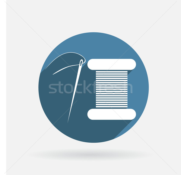 Carretel fio agulha círculo azul ícone Foto stock © LittleCuckoo