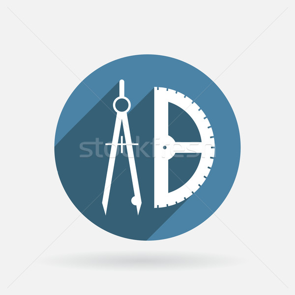 compass and protractor. Circle blue icon with shadow. Stock photo © LittleCuckoo