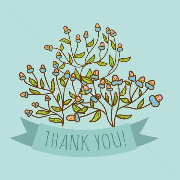 Obrigado cartão broto flor abstrato projeto Foto stock © LittleCuckoo