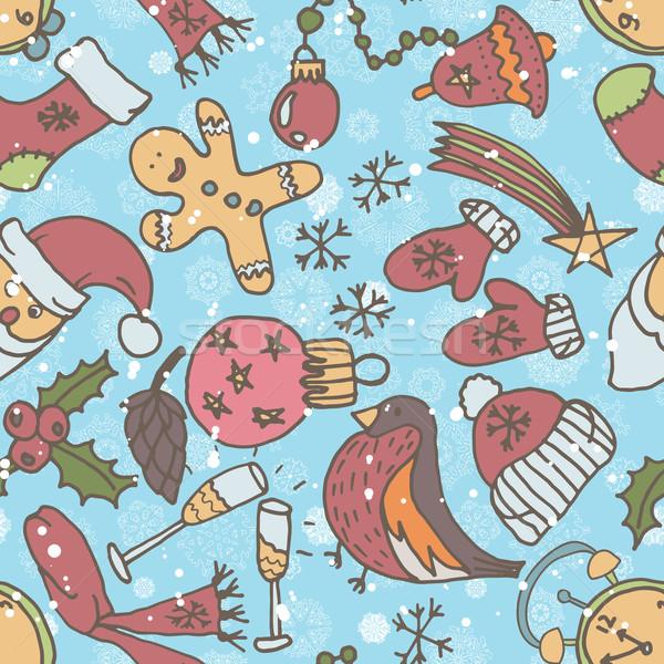 エンドレス クリスマス テンプレート パターン ストックフォト © LittleCuckoo