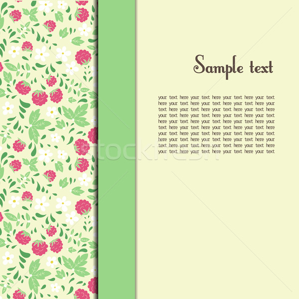 greeting card with raspberries and green leaves Stock photo © LittleCuckoo