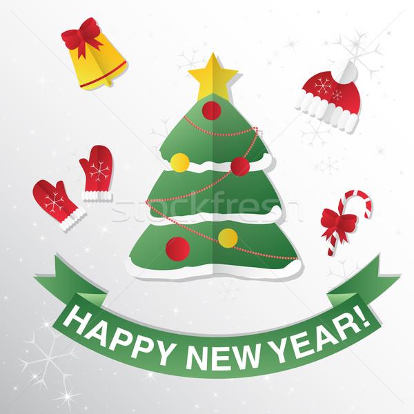 Kartkę z życzeniami choinka gratulacje nowy rok christmas drzewo Zdjęcia stock © LittleCuckoo