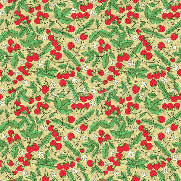 Naadloos textuur sappig aardbeien aardbei vruchten Stockfoto © LittleCuckoo