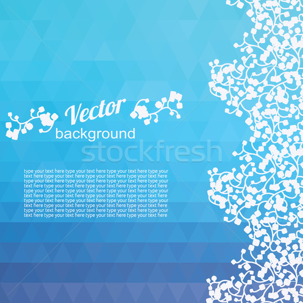 Background blue triangles and plants Stock photo © LittleCuckoo