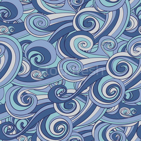 hand drawn blue wave pattern Stock photo © LittleCuckoo