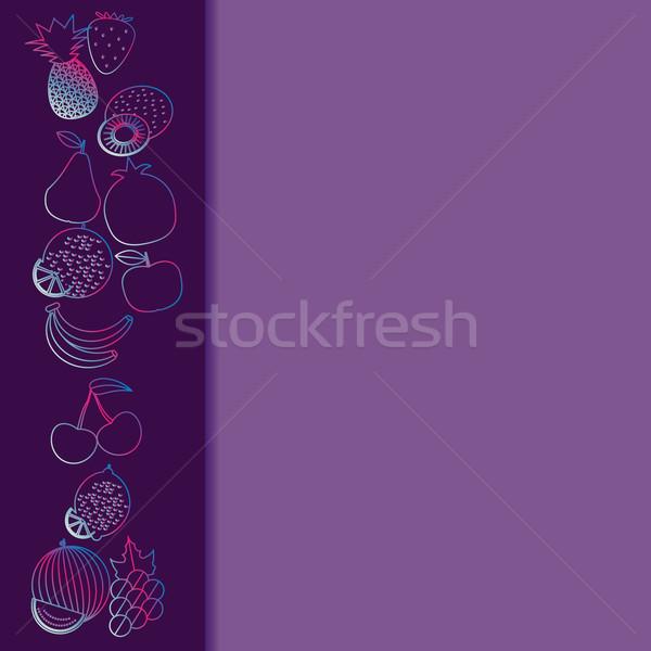 Fruto sem costura fronteira padrão imagem frutas Foto stock © LittleCuckoo