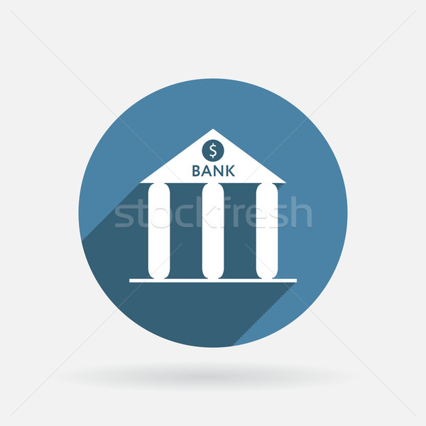 bank building. Circle blue icon with shadow. Stock photo © LittleCuckoo