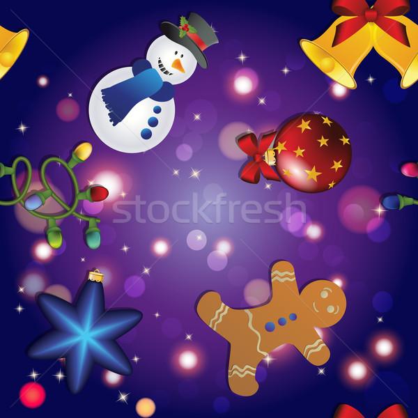 Nouvelle année modèle bonhomme de neige gingerbread man cloche guirlande Photo stock © LittleCuckoo