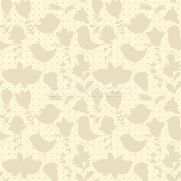 Neutro floral papel de parede planta curvas Foto stock © LittleCuckoo