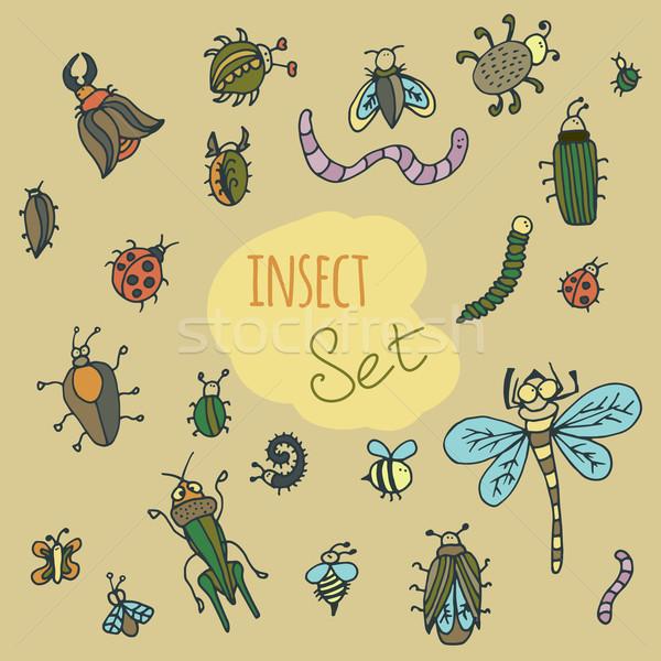 Establecer cute Cartoon insectos colorido vector Foto stock © LittleCuckoo