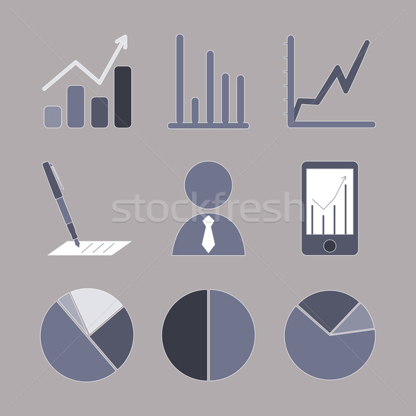 business analytical icons with graphs Stock photo © LittleCuckoo