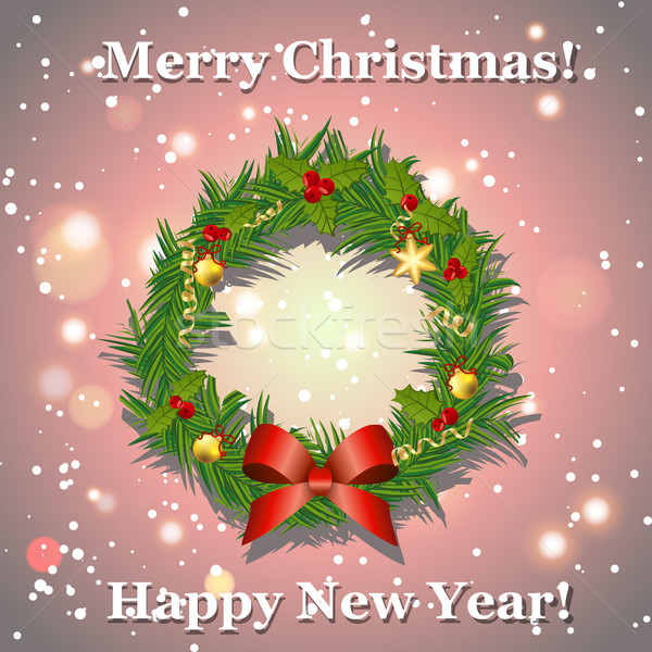 Stock photo: Christmas wreath with bow, balls and ribbons, New Year greeting card.