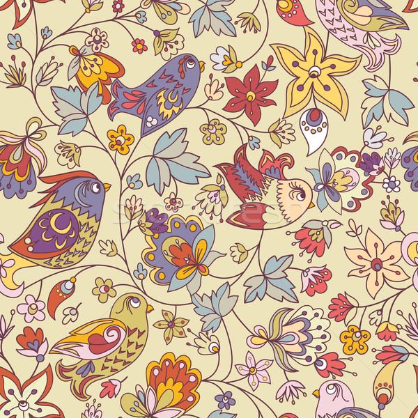 Doku çiçekler kuşlar çiçek kuş Stok fotoğraf © LittleCuckoo