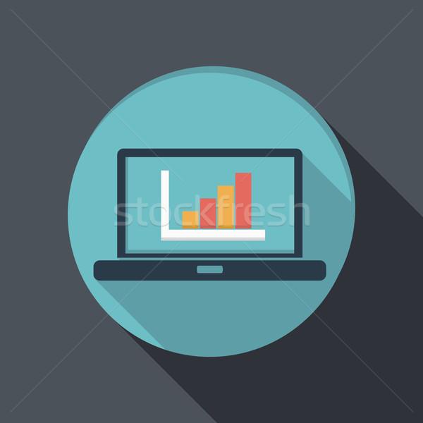 Ikon laptop szimbólum diagram árnyék notebook Stock fotó © LittleCuckoo