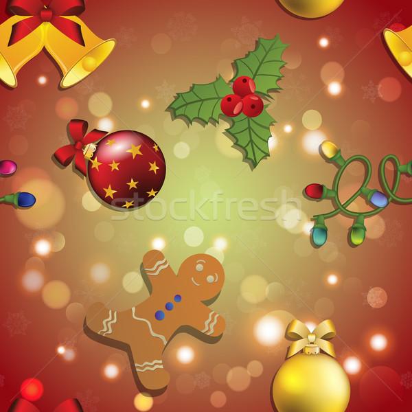 Neujahr Muster Lebkuchenmann Mistel Girlande Weihnachten Stock foto © LittleCuckoo
