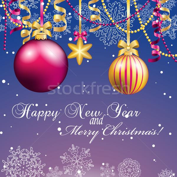 Ano novo cartão natal bola arco fita Foto stock © LittleCuckoo