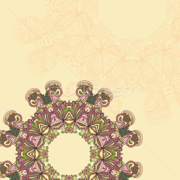 Cerchio mandala pizzo caleidoscopio ornamento vettore Foto d'archivio © LittleCuckoo