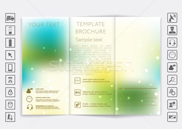 Tri-Fold Brochure mock up vector design. Smooth unfocused bokeh background.  Stock photo © LittleCuckoo