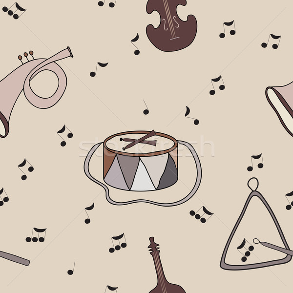 Background with music notes and instruments Stock photo © LittleCuckoo
