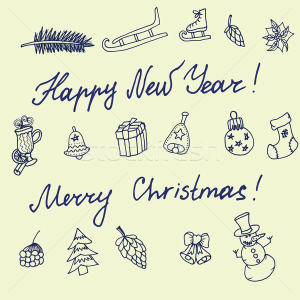Сток-фото: Рождества · эскиз · Поздравляю · Новый · год · стиль