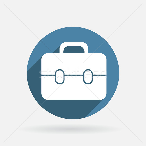 Circle blue icon with shadow. briefcase Stock photo © LittleCuckoo