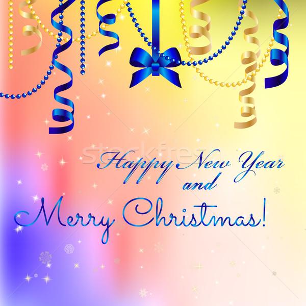 Nieuwjaar wenskaart christmas boeg lint gelukkig nieuwjaar Stockfoto © LittleCuckoo