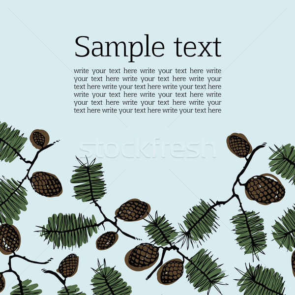 Background frame for text with fir cones and twig Stock photo © LittleCuckoo