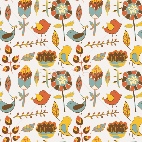 Sem costura textura flores aves flor pássaro Foto stock © LittleCuckoo