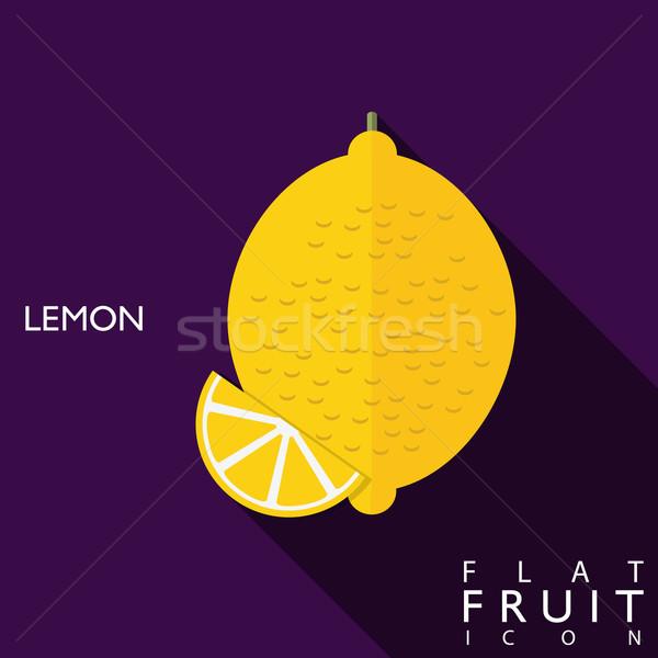 Limão ícone ilustração longo sombra cartão Foto stock © LittleCuckoo