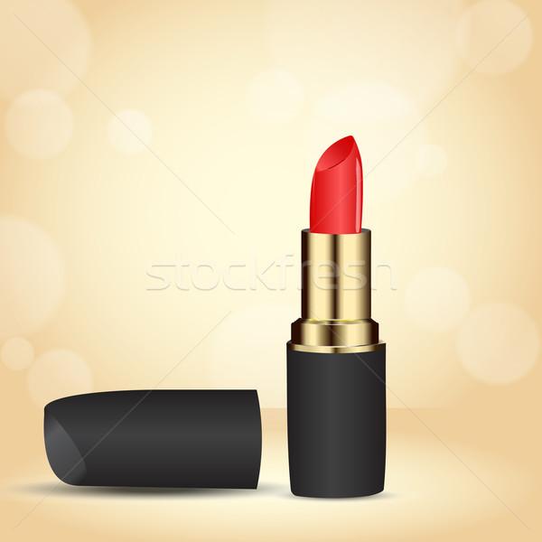Rouge à lèvres rouge or cas beige bokeh effet Photo stock © LittleCuckoo