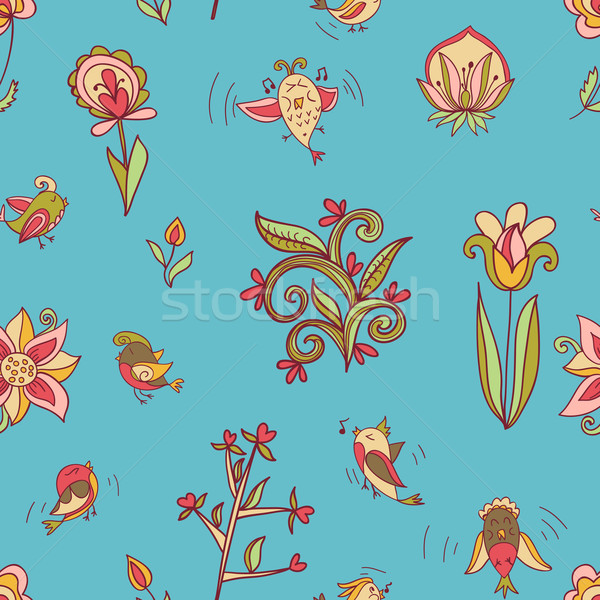 Fiori uccelli senza soluzione di continuità texture pattern Foto d'archivio © LittleCuckoo