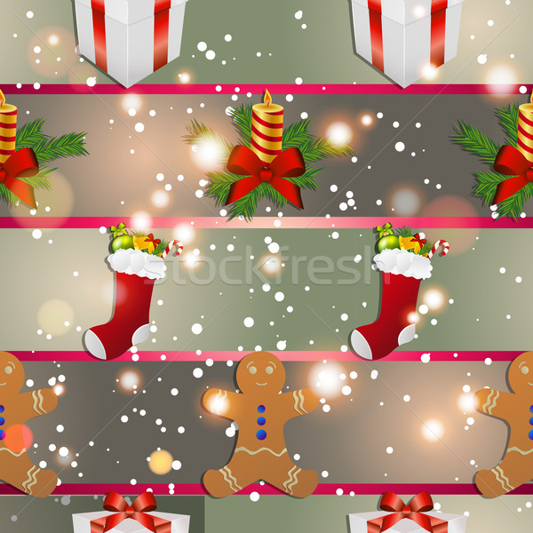 New year pattern with gingerbread man gift, Christmas candle and socks for gifts Stock photo © LittleCuckoo