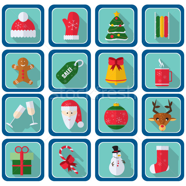 Karácsony ikonok stílus tér gombok új év Stock fotó © LittleCuckoo