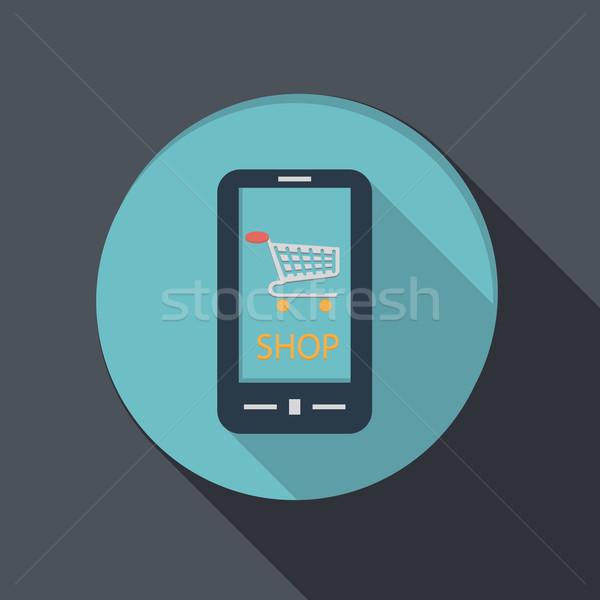 Smartphone symbool winkelwagen papier icon Stockfoto © LittleCuckoo