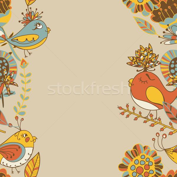 Fronteira abstrato flores aves ornamento padrão Foto stock © LittleCuckoo