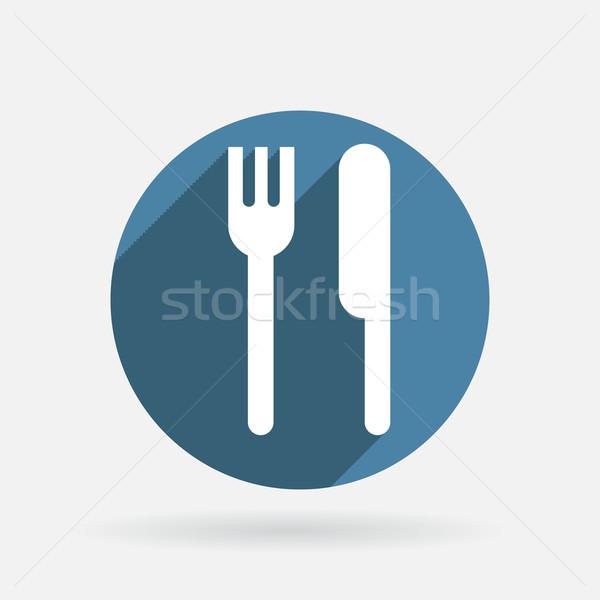 Vork mes cirkel Blauw icon schaduw Stockfoto © LittleCuckoo