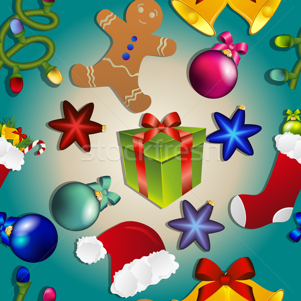 Capodanno pattern Natale giocattoli calze regalo Foto d'archivio © LittleCuckoo