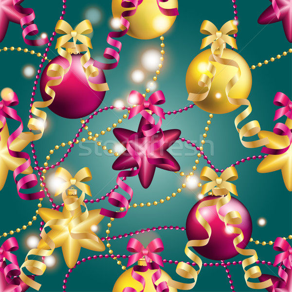 Ano novo padrão bola natal papel de parede arco Foto stock © LittleCuckoo