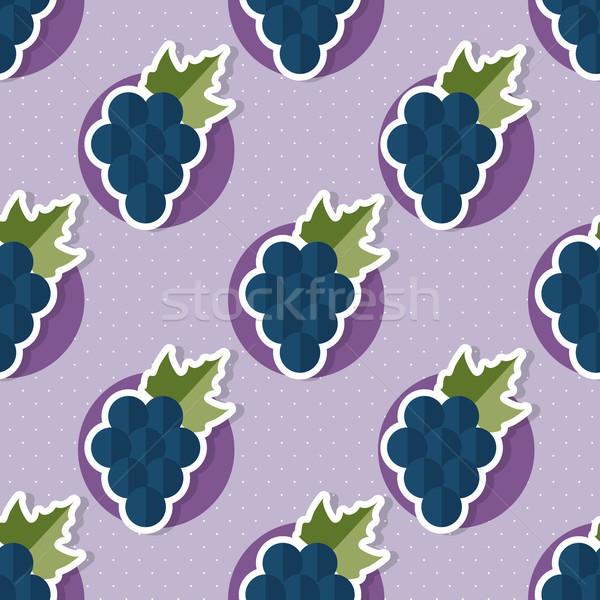 Stock photo: Grape pattern. Seamless texture with ripe grape