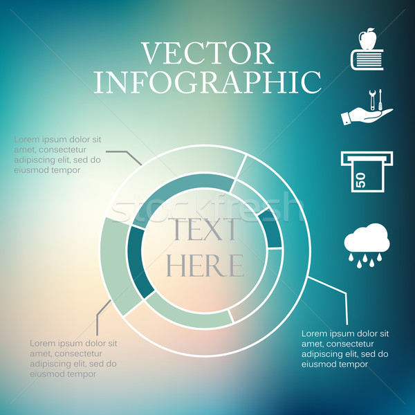 Vector infographic pie charts over colorful blurred unfocused bokeh background Stock photo © LittleCuckoo
