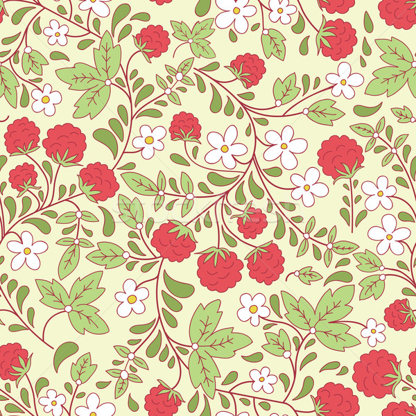 seamless texture with raspberry and green leaves Stock photo © LittleCuckoo