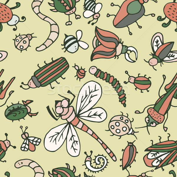 Foto stock: Bonitinho · desenho · animado · inseto · padrão · verão · textura