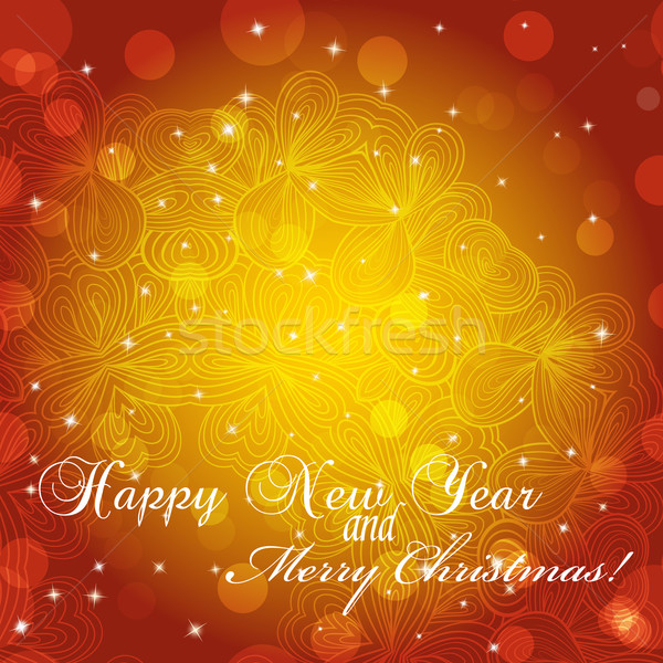 Nouvelle année carte de vœux félicitations Noël cercle dentelle Photo stock © LittleCuckoo