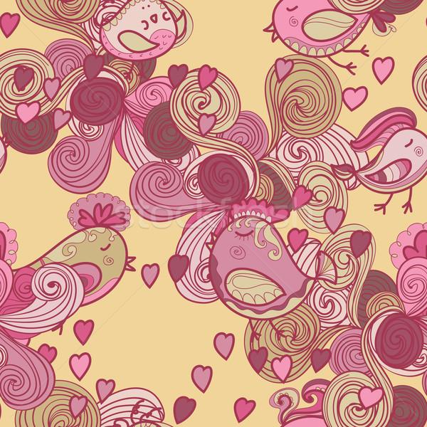 Stock fotó: Valentin · nap · minta · szívek · madarak · hullámok · textúra
