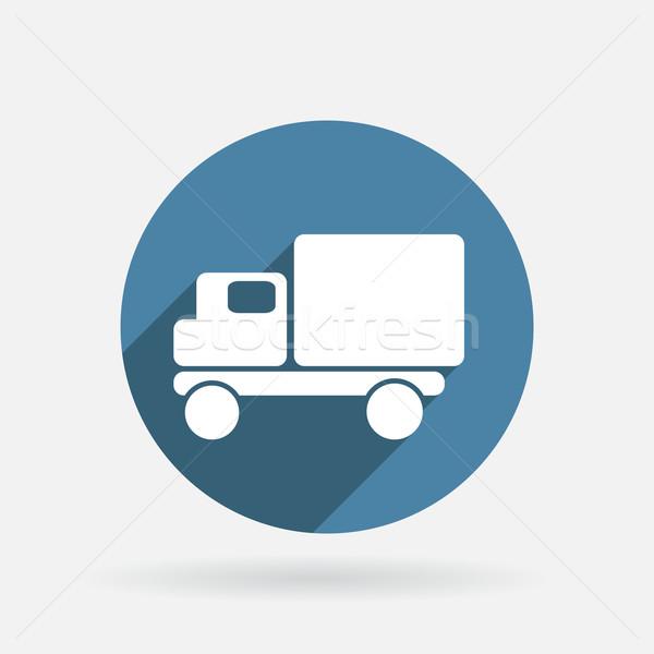 Caminhão ícone círculo azul sombra luz Foto stock © LittleCuckoo
