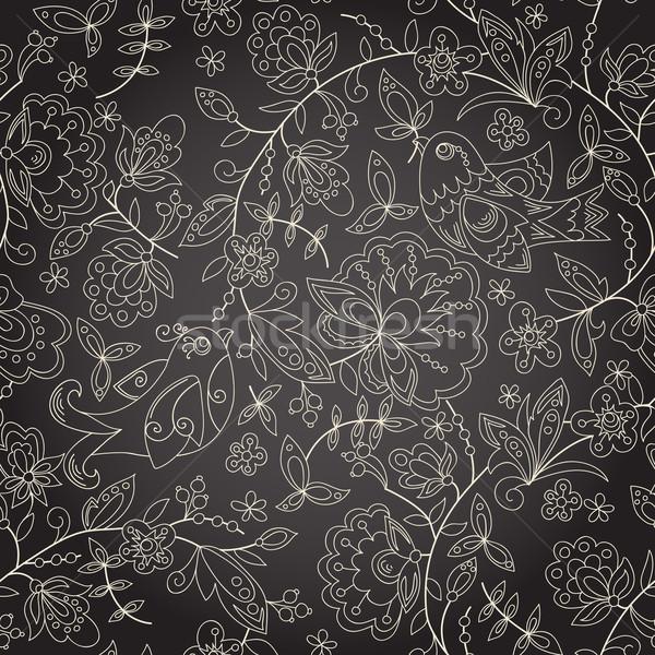 Sem costura escuro textura flor flores Foto stock © LittleCuckoo