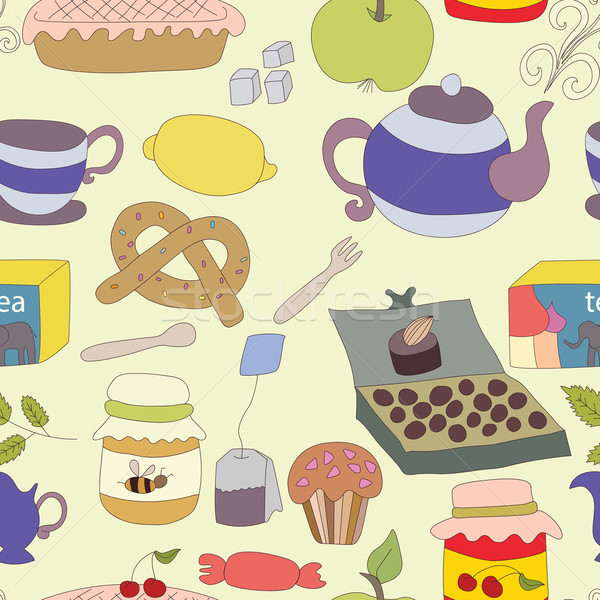 Tea Party with cup of tea and desserts, fruits Stock photo © LittleCuckoo