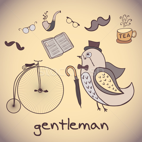 illustration, bird gentleman. attributes dandy Stock photo © LittleCuckoo